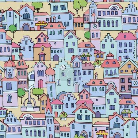 Photo pour Modèle sans couture avec différentes couleurs et formes vieilles maisons.Croquis, dessiné à la main. Façades de bâtiments panachés dans le style traditionnel néerlandais . - image libre de droit