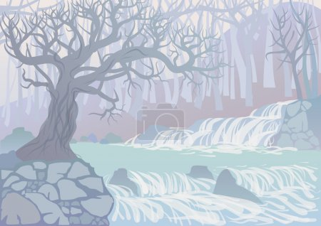 Illustration for Landscape with mountain river and trees. View of the canyon with waterfall - Royalty Free Image