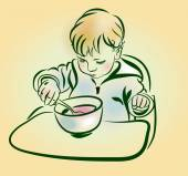 The baby with a spoon in hand eats