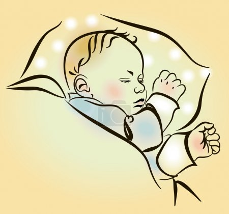 Lovely newborn sleeping in the crib. Cute sleeping...