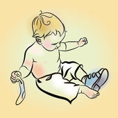 Illustration of boy putting on shoes Little Boy Put Shoes On