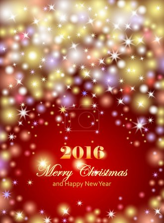 Merry Christmas and Happy New Year celebrations flyer, banner, poster or invitation with shiny text.