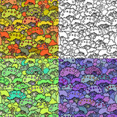 Set of seamless patternsFresh green treesSpring and autumn gar