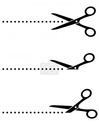 scissors icon with cut line