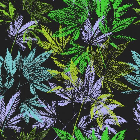 Illustration for Vector graphics, artistic, stylized  seamless pattern with the image of the leaves of cannabis. Pattern can be used for fabric design, wallpaper, wrapping papers. - Royalty Free Image