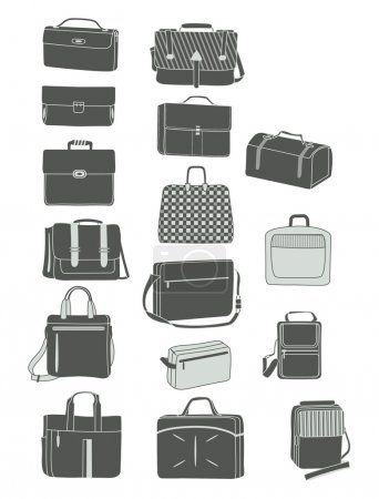 Illustration for Silhouettes of men's handbags isolated on white background - Royalty Free Image