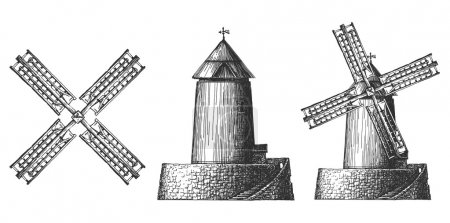 items full of windmills on a white background. sketch