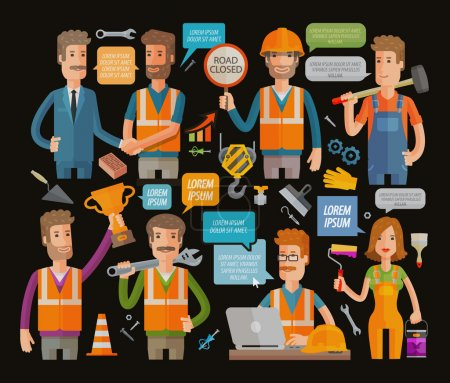 Builder or construction, repair icons set. Vector illustration