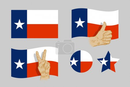 Texas flag icons set on gray background. vector il...