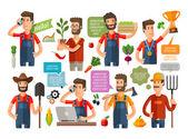 farmer or farming gardening icons set vector illustration