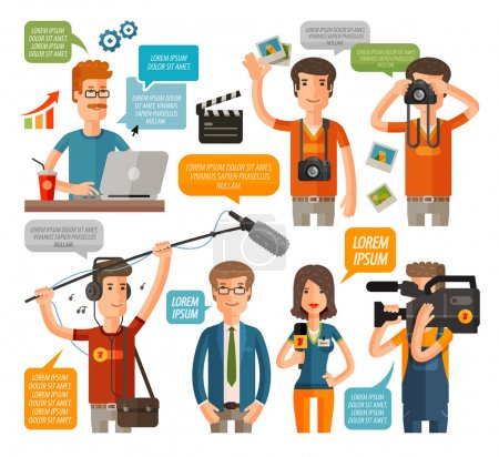 photographer and reporter, television, journalism flat icons set. vector illustration