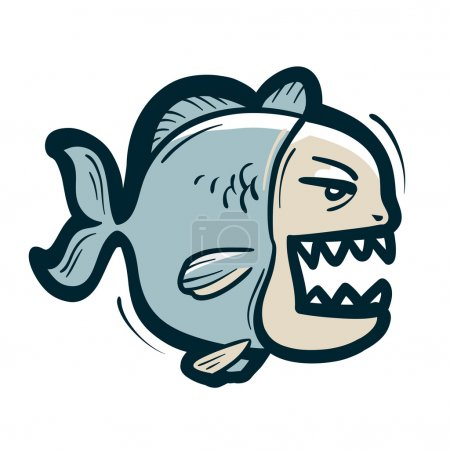 Piranha vector logo. fish or fishing icon