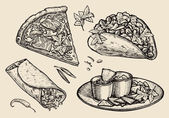 fast food Hand drawn pizza sandwich tacos nachos burrito shawarma pita bread Sketch vector illustration