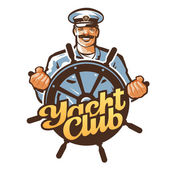 yacht club vector logo ship captain sailor or helm steering wheel icon
