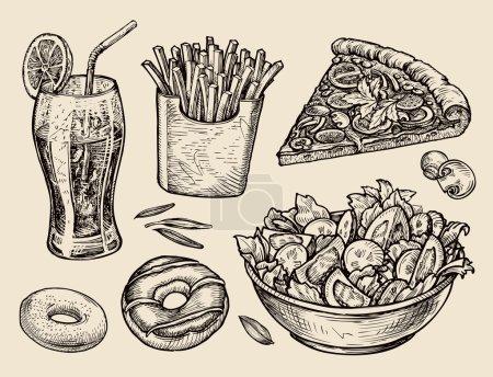 Photo pour Collection de nourriture dessinée à la main. illustration vectorielle - image libre de droit