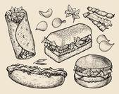fast food hand drawn cheeseburger burritos ham bacon sandwich hot dog crisp burger sketch vector illustration
