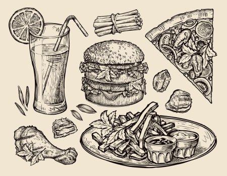 Illustration pour Collection de nourriture dessinée à la main. illustration vectorielle - image libre de droit