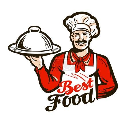Illustration pour Heureux chef avec un plateau à la main. illustration vectorielle isolée sur fond blanc - image libre de droit