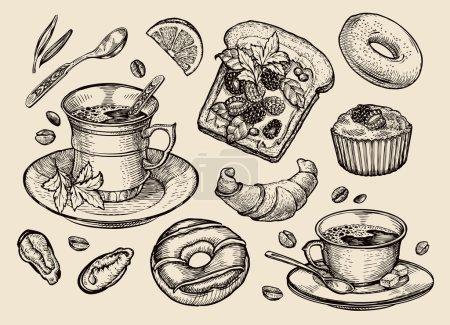 """restauration rapide. la main dessiné """"sandwich"""", dessert, tasse de café, thé, donut, croissant, muffin. illustration vectorielle de croquis"""