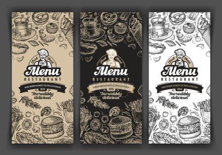 Illustration pour Croquis vectoriel vintage illustration de nourriture. couvertures de menu de modèle de conception pour restaurant ou café, restaurant, restaurant, bistro - image libre de droit