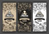 vector vintage sketch food illustration design template menu covers for restaurant or cafe eatery diner bistro