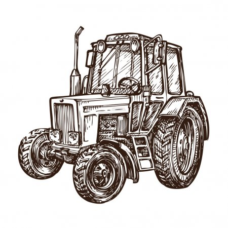 hand drawn farm tractor. sketch vector illustration