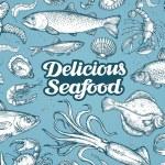 Hand drawn sketch seafood. Vector illustration...