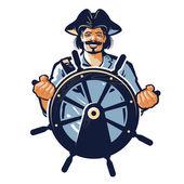pirate vector logo corsair or captain sailor seafarer icon