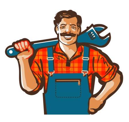 Illustration pour Logo vectoriel plombier. clé à molette ou icône bricoleur - image libre de droit