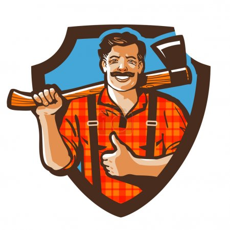 Illustration for Bearded canadian woodcutter with axe in plaid shirt - Royalty Free Image