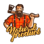 woodcutter lumberjack vector logo joiner or carpenter icon