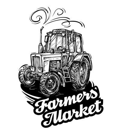 farm tractor. hand-drawn sketch. vector illustration