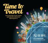 Trip to world Landmarks on the globe Journey travel Vector illustration
