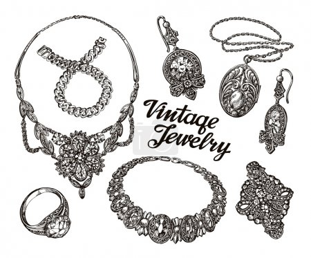 Hand drawn sketch collection vintage Jewelry. Gold and gems. Jewelry shop or pawn shop vector illustration