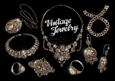 vintage jewelry. bijouterie. jewelry shop. hand drawn bracelet, rings, pendant, necklace, chain, brooch, earrings