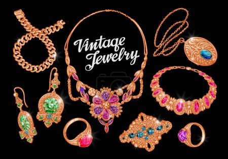 Jewelry. Precious metal, gold, silver and gems. Vector illustration
