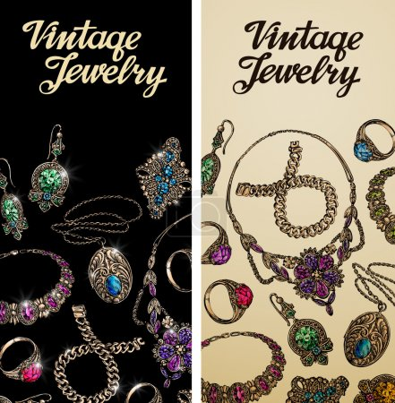 Vintage jewelry. Precious metal, gold, silver and gems. Vector illustration