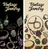 Vintage jewelry Precious metal gold silver gems Vector illustration
