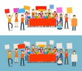 People with placards on demonstration Holiday celebration festivity vector illustration