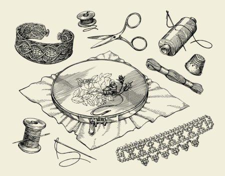 Illustration pour Des notions de couture, macramé. Cercle de broderie dessiné à la main, fil, aiguille, dé à coudre, perlage, perlage, aiguille. Illustration vectorielle - image libre de droit