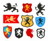 Shield with lion heraldry vector logo Coat of arms icons