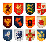 Royal coat of arms on shield vector logo Heraldry blazonry set icons