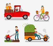 Farm icons set Cartoon characters such as farmer truck bike tillers motor cultivator Vector illustration