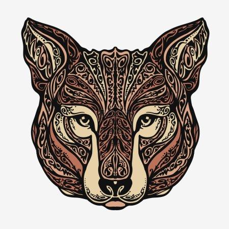 Ethnique orné de chacal, coyote, loup ou un chien. Illustration vectorielle