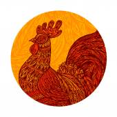 Ethnic ornamented rooster cockerel chicken or hen Vector illustration