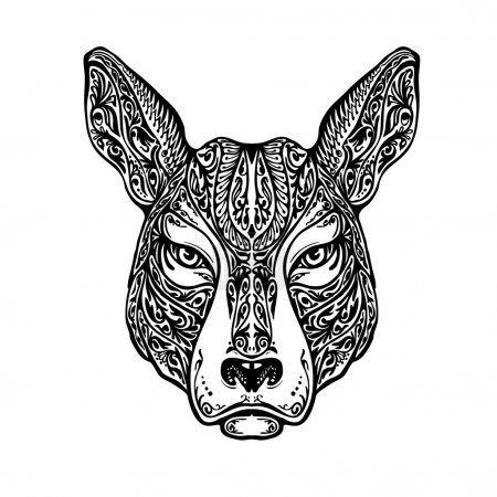 Ethnic ornamented dog, pit bull terrier or kangaroo. Hand drawn vector illustration with floral elements