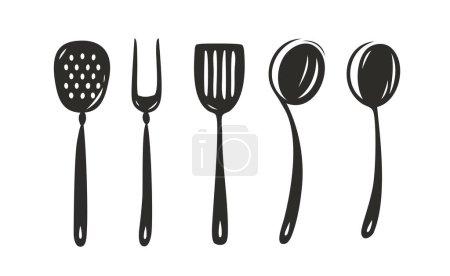 Illustration pour Ensemble d'outils de cuisine. Vecteur de concept culinaire - image libre de droit