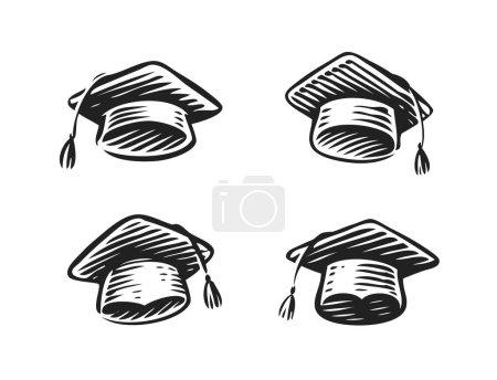 Illustration for Graduation hat, cap symbol. Education, school icon - Royalty Free Image