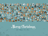 Merry Christmas Greeting card icons