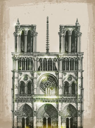 Cathedral of Notre Dame de Paris, France. Hand Drawn Illustration